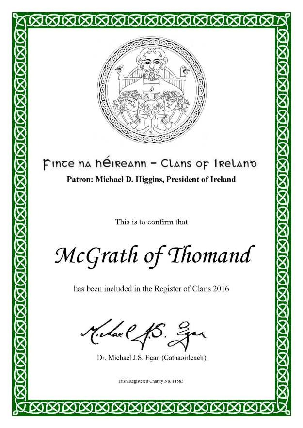 COI Membership Cert.  McGrath of Thomond Clan  2016