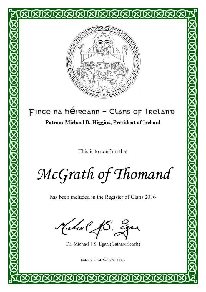 COI Membership Cert.  McGrath of Thomond Clan  2016